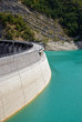 dam with blue water low in summer