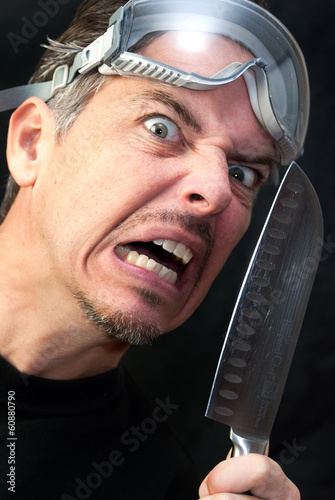 Crazy Man With Knife