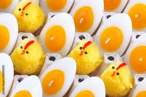 Easter Chicken, candles that look like eggs
