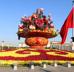 Huge flower basket in Tiananmen square,  Beijing, China