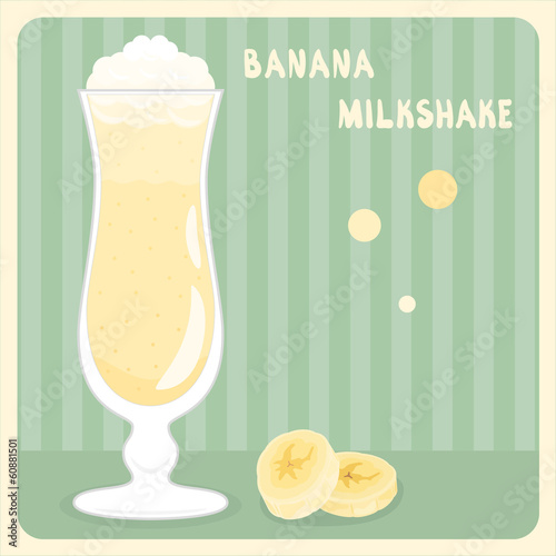 Banana milkshake with cream in vector