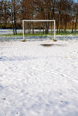 soccer field covered with snow