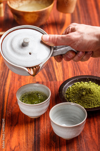 Serving matcha tea