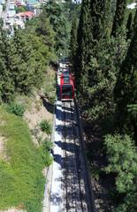 Funicular rails in Tbilisi. The Republic of Georgia