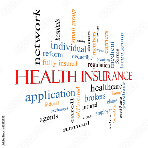Health Insurance Word Cloud Concept Fading