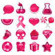 Various set of pink icons