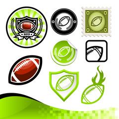 Design kit of emblems and icons with American footballs