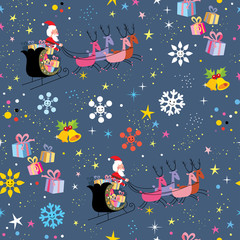 Santa and his sleigh flying Christmas pattern
