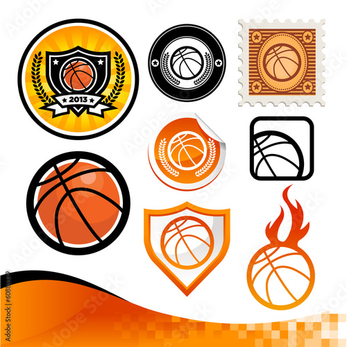 Design kit of emblems and icons with basketballs