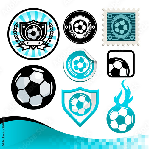 Design kit of emblems and icons with soccer balls