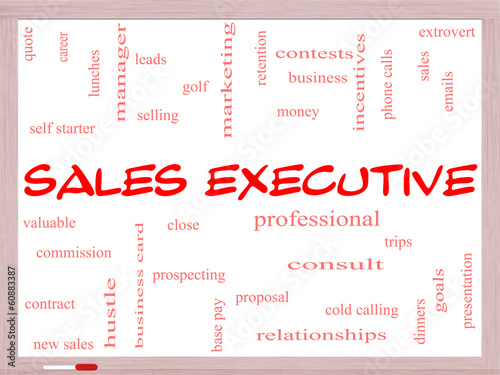 Sales Executive Word Cloud Concept on a Whiteboard
