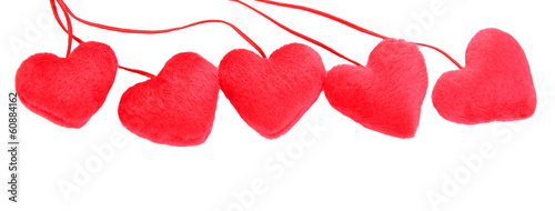 five decorative red heart