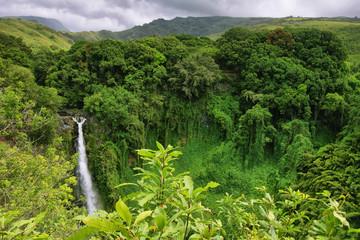 Makahiku falls in Waimoku falls trail