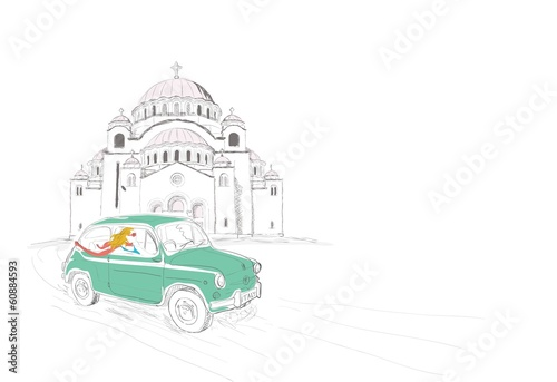 Beautiful woman driving through Belgrade