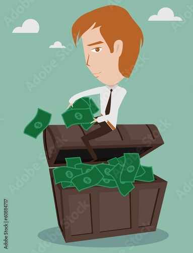 Businessman is sitting on the chest with dollar bills