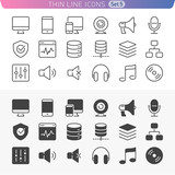 Computer and media set. Trendy line icons for web and mobile. No