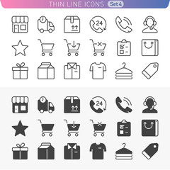 Shopping and money set. Trendy line icons for web and mobile