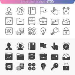 Business and office set. Trendy line icons for web and mobile.