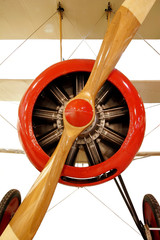 Vintage Red Plane With Propeller