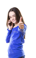 Teenage girl with smartphone poiting with her finger at camera