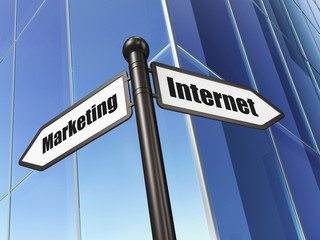 Marketing concept: sign Internet Marketing on Building