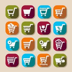 shopping basket long shadows icons