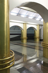 "interior subway station ""International"" in St. Petersburg"
