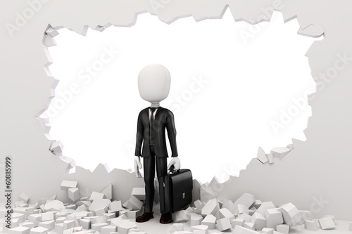 3d man businessman going tgrough a wall