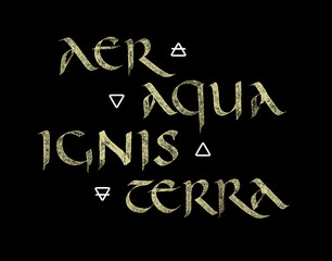 Calligraphic Alchemical four elements