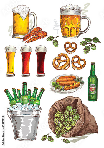 hand drawing beer set