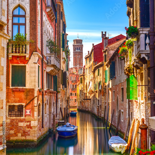 Fotobehang Venetie Venice cityscape, water canal, campanile church and traditional