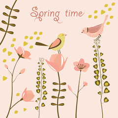 Birds at spring time. Vector