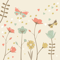 Flower background with butterflies. Vector