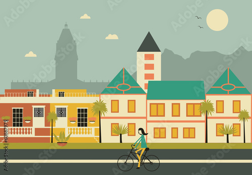 Woman on bicykle in Cape town city.  Vector