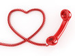 Phone Reciever with Heart Cord
