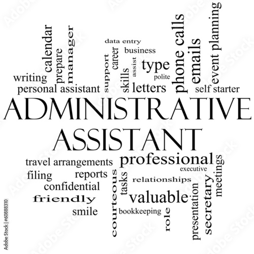 Administrative Assistant Word Cloud Concept in black and white