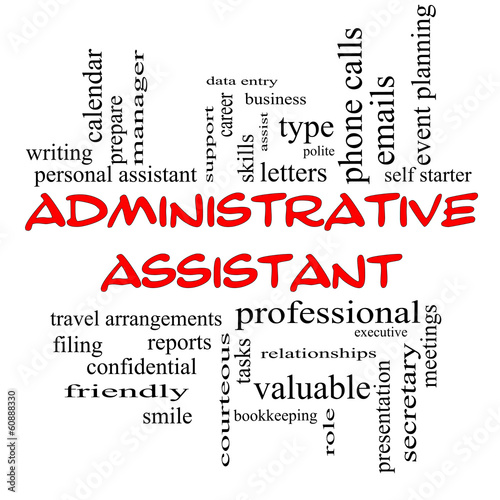 Administrative Assistant Word Cloud Concept in red caps