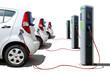 Leinwanddruck Bild - Elektroautos Flotte an Stromtankstelle - Electric Cars Charging