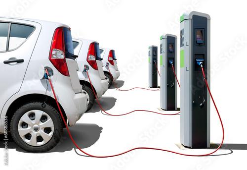 Leinwanddruck Bild Elektroautos Flotte an Stromtankstelle - Electric Cars Charging