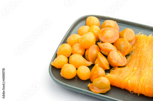 Thai dessert on plate, isolated