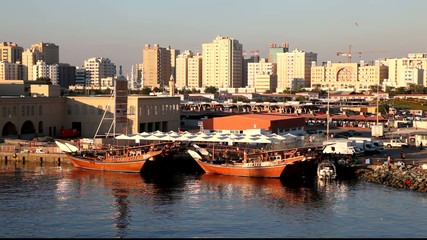 Traditional arabic dhows in Sharjah, UAE