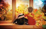 Little Child Watching Fall Leaves in Window
