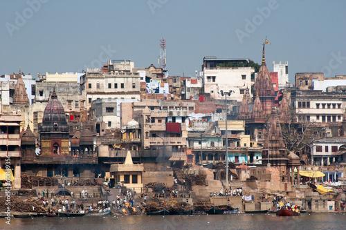 Staande foto India Varanasi - Aussicht vom Fluss Ganges
