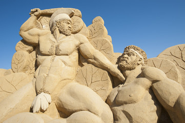 Large sand sculpture of Hercules the Greek