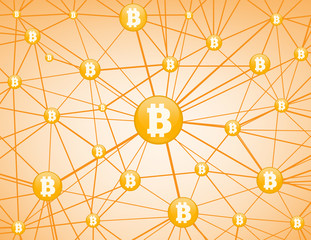 Bitcoin network yellow  background