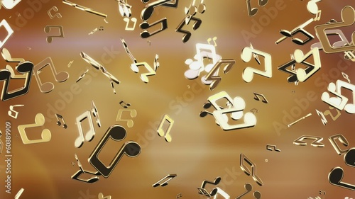 Golden music notes. Looping.