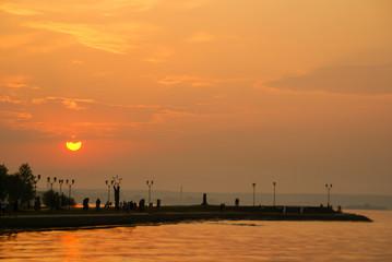 Summer sunset on the Onego lake