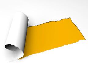 Strappo carta foglio giallo arrotolare arricciare