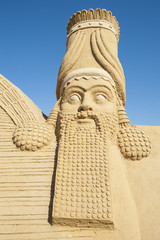 Large sand sculpture of Lamassu deity
