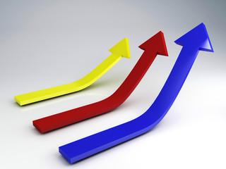3d illustration of three arrows, choice concept